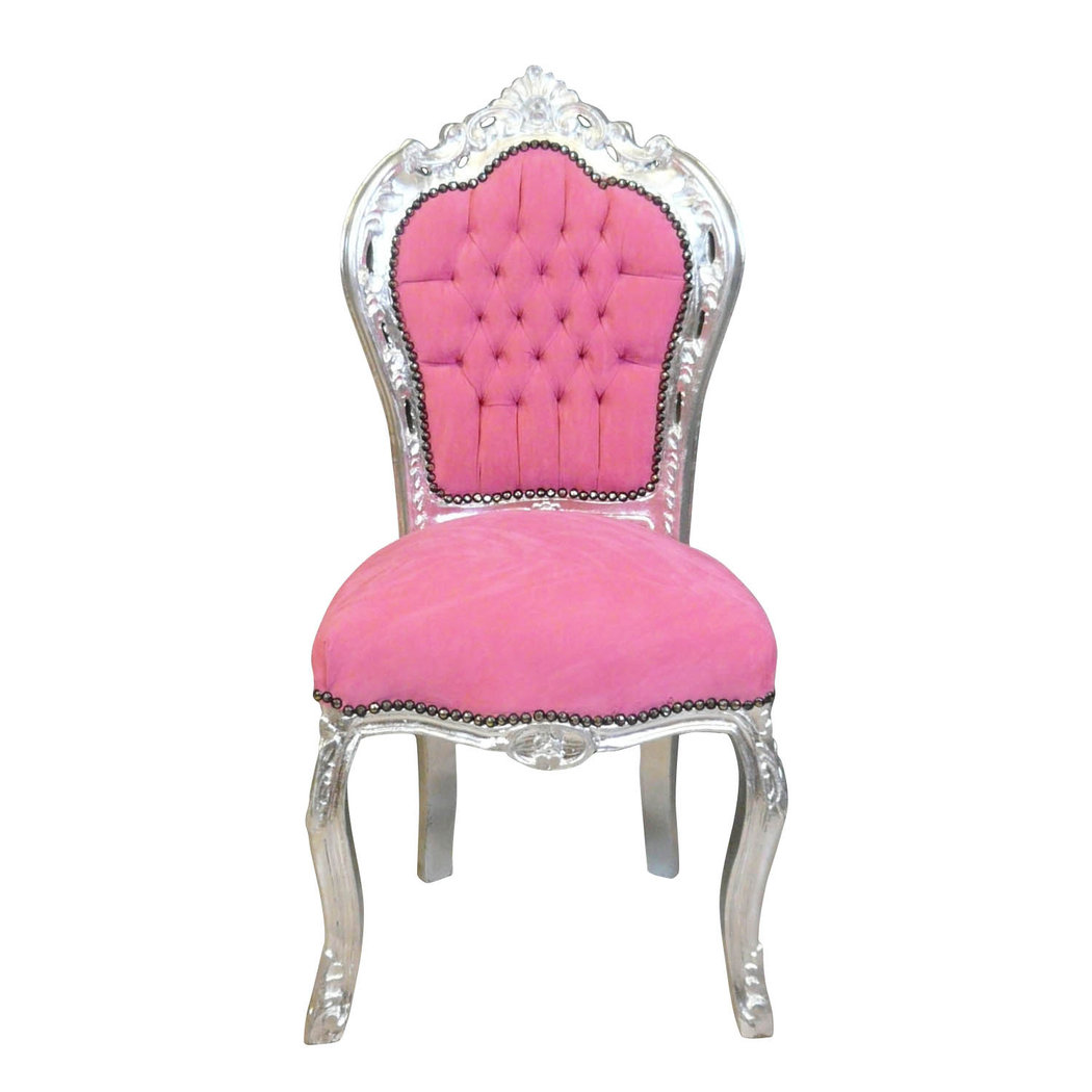Chaise baroque rose fauteuil baroque for Chaise baroque avec accoudoir